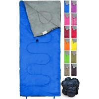 REVALCAMP Lightweight Blue Sleeping Bag Indoor & Outdoor use. Great for Kids Youth & Adults. Ultralight and Compact Bags are Perfect for Hiking Backpacking Camping & Travel. Sports & Outdoors