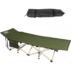 LAZZO 74.8x28 Folding Camping Cot Side Pocket Portable Camp Cot Stable Lounger Bed with Carry Bag for Home Office Yard Balcony Patio Garden Beach Famliy Lounging Load 220lbs Green Sports & Outdoors