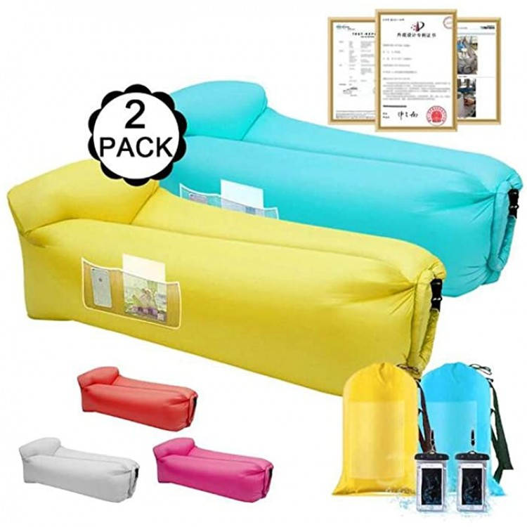 Inflatable Loungers Air Sofa-Inflatable Couch Air Chair Water Proof&Anti-Air Leaking Blow Up Couch Air Lounger Hangout Sofa for Beach Parties Travelling Camping Hiking PicnicsBlue Yellow Sports & Outdoors