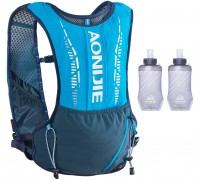 Azarxis Hydration Pack Backpack 5L Lightweight Vest with Two 420ml Water Bottles for Men & Women - Perfect for Outdoors Marathon Trail Race Cycling Hiking Blue - with 2 Soft Water Bottles 420ml Sports & Outdoors