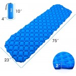 Air Camping Sleeping Pad 1lb Ultralight Upgraded 40D Tear-Resistant Nylon TFO Textured Inflatable Camping Mat with Compact Carrying Bag for Backpacking Hiking Car Blue Sports & Outdoors